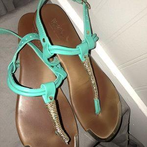 Dark teal&gold sandals